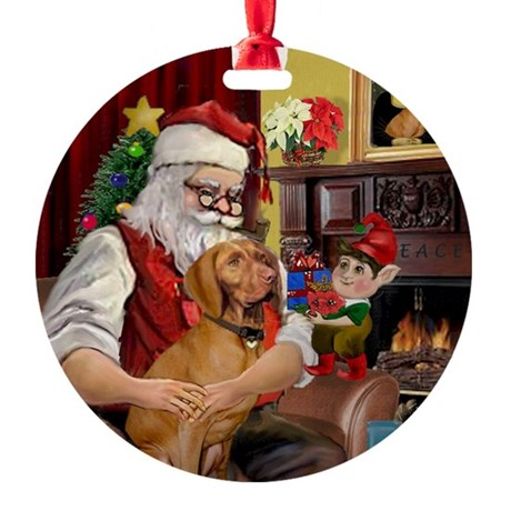 Santa's Vizsla Keepsake (Round)
