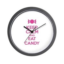 Keep calm and eat candy Wall Clock
