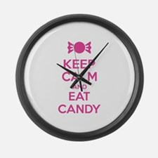 Keep calm and eat candy Large Wall Clock