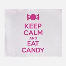 Keep calm and eat candy Throw Blanket