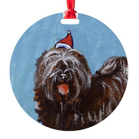 Tibetan Terrier xmas santa ha Ornament (Round)