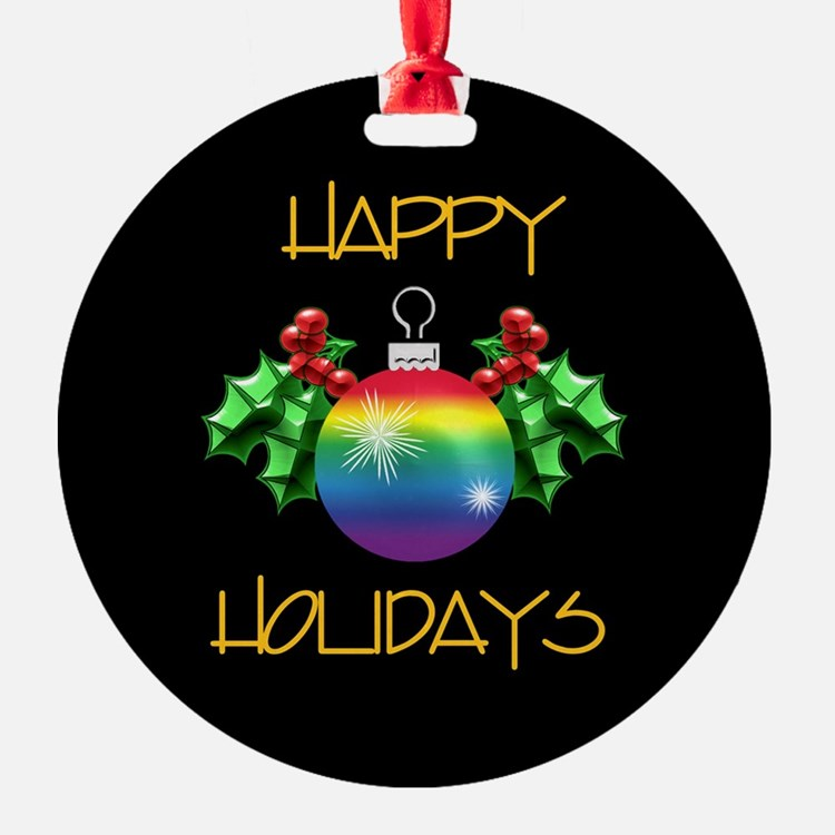 Happy Holidays Rainbow Ornament (Round)