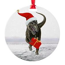 'Santasaurus' T-Rex Dinosaur ~ Ornament (Round)