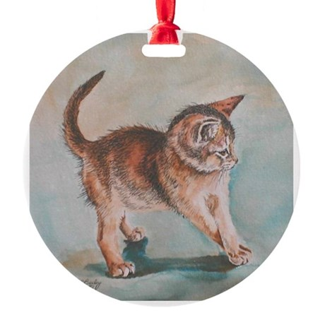 "Aby Kitten ""Grapevine"" Ornament (Round)"