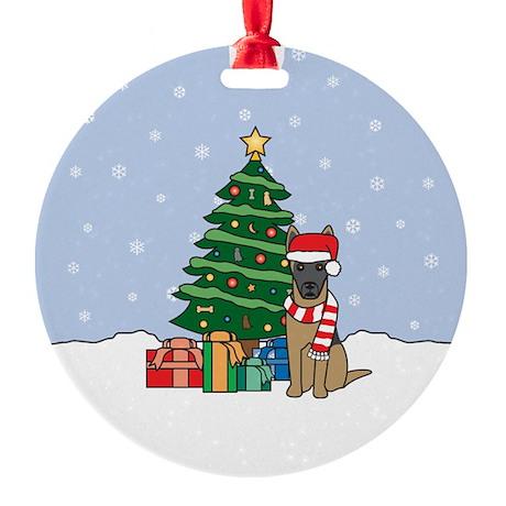 Belgian Malinois Christmas Round Ornament