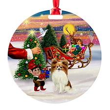 Santa's Treat for his Papillon Ornament (Round)