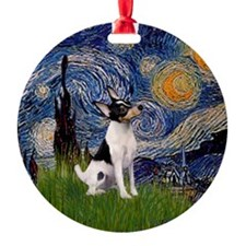 Starry Night Toy Fox Terrier Ornament (Round)