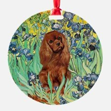 Ruby Cavalier in Irises Ornament (Round)