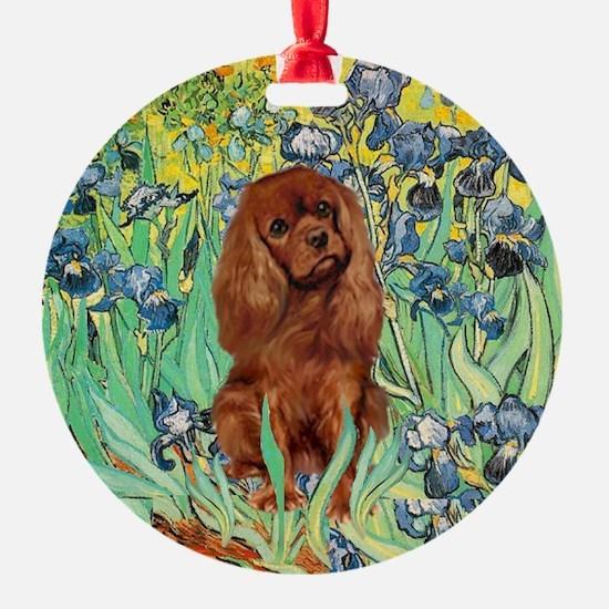 Ruby Cavalier in Irises Ornament (Round)