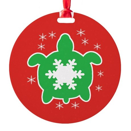 Snowflake Sea Turtle Ornament (Round)