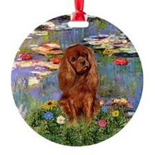 Ruby Cavalier in Monet's Lilies Ornament (Round)