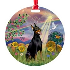 Cloud Angel and Doberman Ornament (Round)