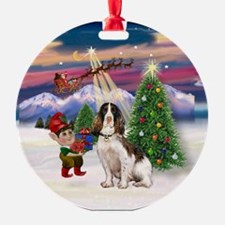 English Springer Christmas Tree Ornament (Round)