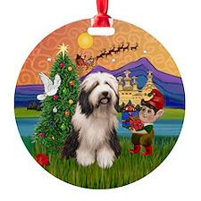 Beardie Christmas Fantasy Ornament (Round)