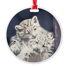Snow Leopard Kits Ornament (Round)