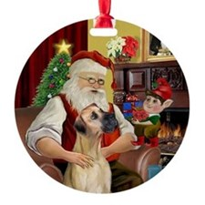 Santa's Fawn Great Dane (nat.) Ornament (Round)