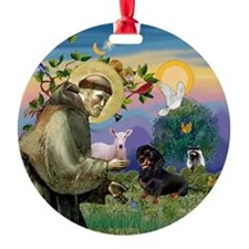 Dachshund & Saint Francis Ornament (Round)