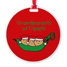 Grandparents of Triplet Christmas Ornament (Round)