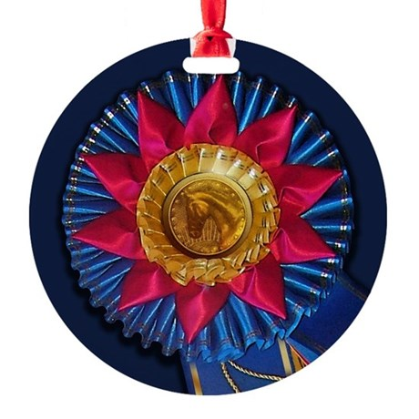 Horse Show Blue Ribbon Awards Ornament (Round)