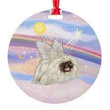 White Peke (black mast) Angel Ornament (Round)