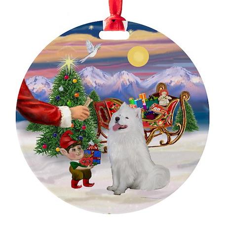 Santa's Treat for his Samoyed Ornament (Round)