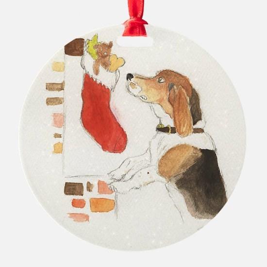 Christmas Beagle Original Painting Ornament (Ornament