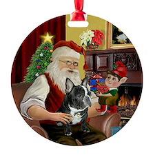 Santa's Black & White Frenchie Ornament (Round)