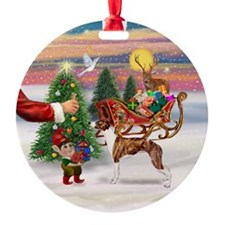 Whippet & Santa's Treat Ornament (Round)