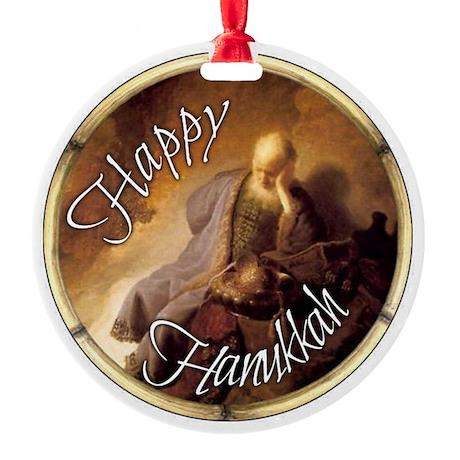 Jewish Happy Hanukkah Vintage Pic Ornament (Round)