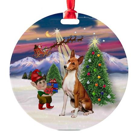Basenji watching Santa take off Ornament (Round)