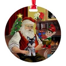 Santa's Mini Schnauzer Ornament (Round)