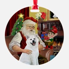 Santa's White Akita Ornament (Round)