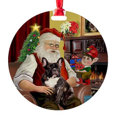 Santa's Brindle French Bulldog Ornament (Round)