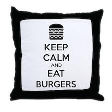Keep calm and eat burgers Throw Pillow