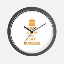 Keep calm and eat burgers Wall Clock