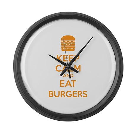Keep calm and eat burgers Large Wall Clock