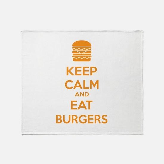 Keep calm and eat burgers Throw Blanket