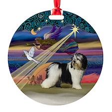 Xmas Star & PON (Blk-Wht) Ornament (Round)