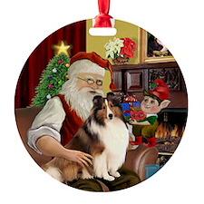 Santa's Sheltie (7) Ornament (Round)