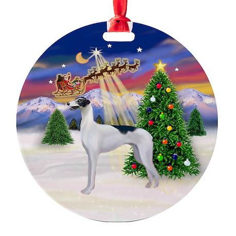 Santa's Take Off & Greyhound (BW) Ornament (Round)