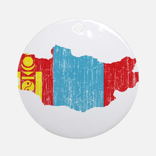 Mongolia Flag And Map Ornament (Round)