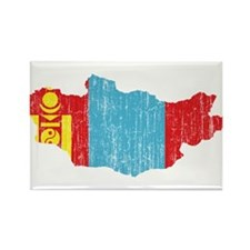 Mongolia Flag And Map Rectangle Magnet