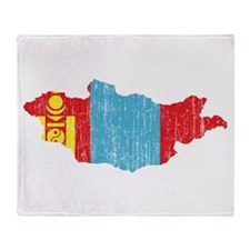 Mongolia Flag And Map Throw Blanket