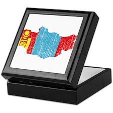 Mongolia Flag And Map Keepsake Box