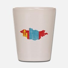 Mongolia Flag And Map Shot Glass