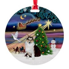 Xmas Magic Cardigan Welsh Corgi Ornament (Round)