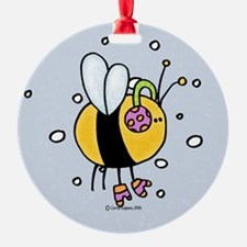 winter bee Ornament (Round)