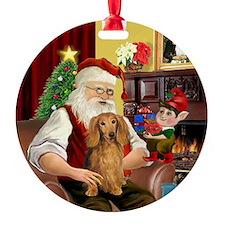 Santa's Sable LH Doxie Ornament (Round)