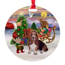 Treat for a Basset Ornament (Round)