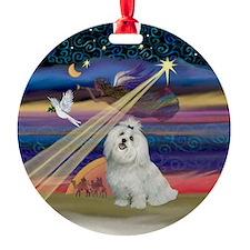 Xmas Star & Maltese Ornament (Round)